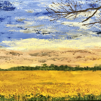 "Original acrylic painting on stretched canvas ""Fields of Gold"""