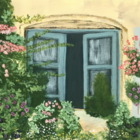 "Original acrylic painting on stretched canvas ""French window"""