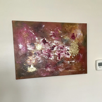 Original abstract acrylic painting with gold leaf and texture