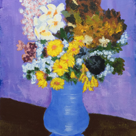 Impressionist style blue vase of flowers in acrylics