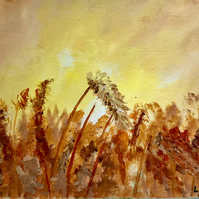 "Original acrylic painting on canvas sheet ""Wheat fields"""
