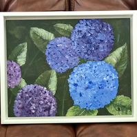 "Framed original acrylic painting ""Hydrangeas"""