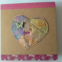 Blank brown, cards decorated with a fabric heart(ok of 10)