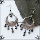 Hematite & Silver Filigree Moon Long Drop Earrings Wicca Goddess Witch Jewellery