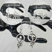 Gothic Animal Earrings Set of 3, Spider Snake & Bat, Halloween Witch Wicca Pagan
