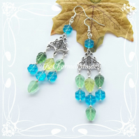 Turquoise & Green Glass Flower Earrings, Chandelier Bohemian Czech Glass