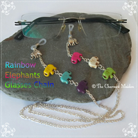 Multicolured Rainbow Elephants Spectacle Glasses Chain, Sunglasses Beaded Chain