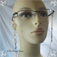Celtic Moon Goddess Spectacle Glasses Chain, Pagan Wicca Sunglasses Cord