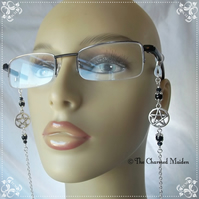 Gothic Wicca Black Onyx Pentagram Spectacle Glasses Chain, Sunglasses Cord