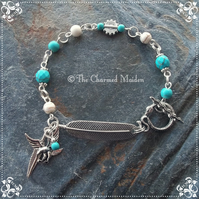 Tribal Spirit Animal Feather Turquoise Howlite Charm Bracelet Snake Eagle Shaman