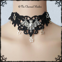 Silver Stars & Bat Black Lace Choker, Gothic Vampire Witch Halloween Neck Collar