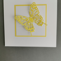 Butterfly Greeting Card - Canary Yellow