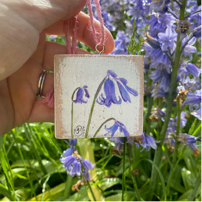 Miniature Bluebell Painting, Tiny Flower Painting, Miniature Floral Art