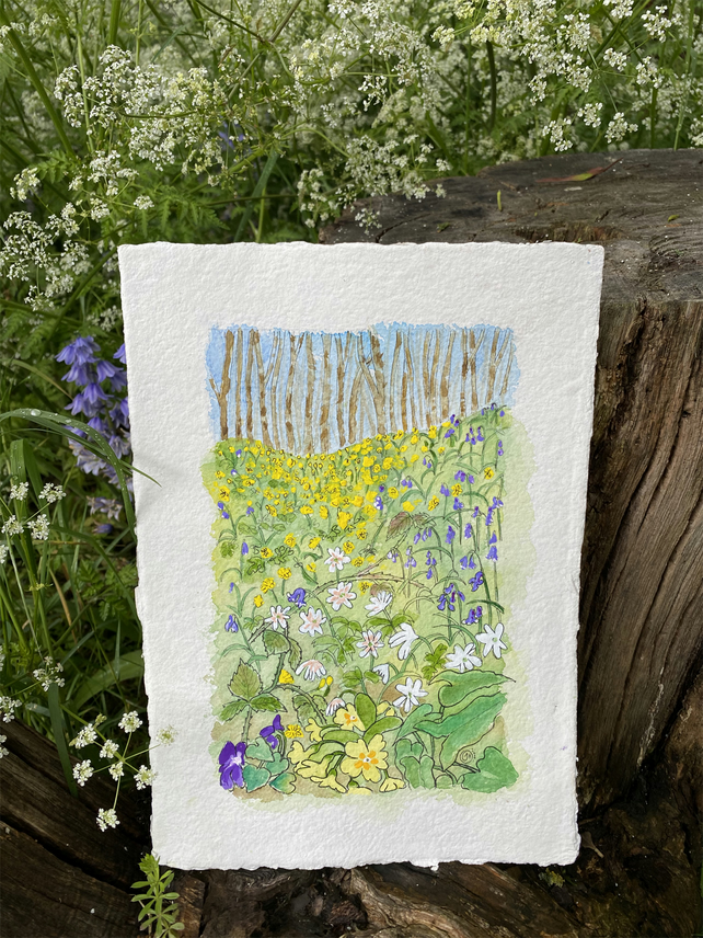 Spring Bank Watercolour Painting, Woodland Painting, Spring Flowers