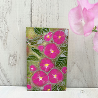 Miniature Morning Glory Painting, Tiny Flower Painting, Bright Pink Painting