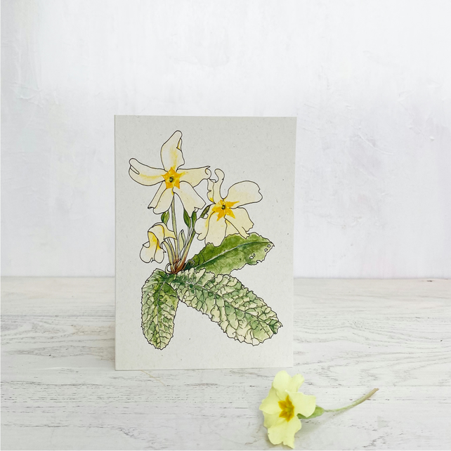 Yellow Primrose notecards - 5 blank cards with envelopes