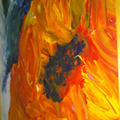 "Sunflower at the end of Summer - acrylic on board, framed, 24"" x 9"""