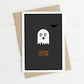 Pixel ghost A6 Halloween card. BOO! Fun ghost character card.
