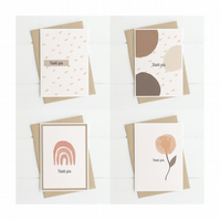 Beautiful natural coloured A6 Thank you cards. Pack of 4.