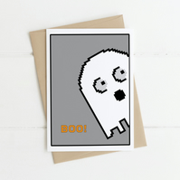 Spooky pixel art Ghost. A6 Halloween Boo greetings card. Family, friends,partner