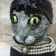 Black Cat Ornament.     Handmade Ceramic Sculpture