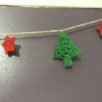 Christmas tree garland, crocheted decorations