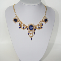 Handmade Gold coloured wire work Necklace with Lapis Lazuli