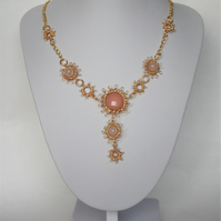 Handmade Gold coloured wire work Necklace with Rose Quartz