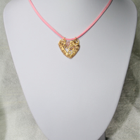 Handmade Gold coloured wire work Heart Necklace with Rose Quartz