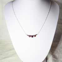 Handmade 925 Silver Necklace with faceted Garnet