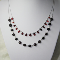 Statement Necklace, Handmade using Genuine Red Garnet and Glass spacer beads