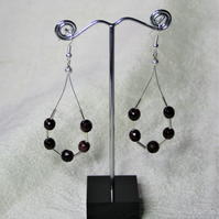 Statement earrings, Handmade using Red Garnet and Glass spacer beads