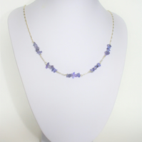 Tanzanite Trendy and Delicate Necklace, Handmade with 925 Silver
