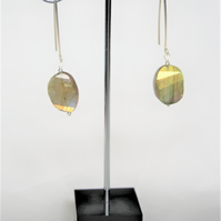 Statement Earrings with 925 Silver and Labradorite faceted rough nuggets