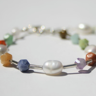 Pearl and mixed gemstones Bracelet, with Sterling Silver