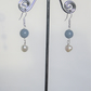 Elegant Earrings with Angelite, Pearls and 925 Sterling Silver Findings