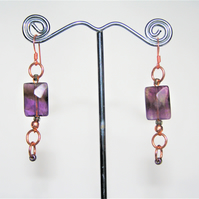 Genuine Amethyst Fashionable earrings with Rose Gold plated metal