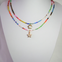 Following 2021 Trends, Colourful Seed bead Necklace with Gold coloured charms