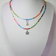 Following 2021 Trends, Colourful Seed bead Necklace with Silver coloured charms