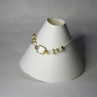 Trendy white, Clear Glass Extendable Bracelet with Gold coloured findings
