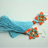 Tassel Earrings with Pastel Blue and Orange Beads