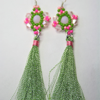 Tassel Earrings with Pink and Pastel Green Beads