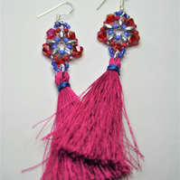 Tassel Earrings with Fuchsia and Blue Beads