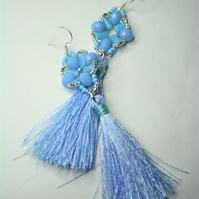 Tassel Earrings with Pastel Blue Beads
