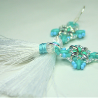 Tassel Earrings with Turquoise and White Beads