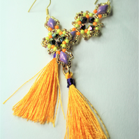 Tassel Earrings with Purple and Yellow Beads