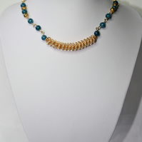 Short Statement Necklace with Genuine Neon Apatite Gemstones