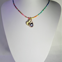 Protective Eye Necklace made with Seed beads and charms