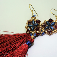 Tassel Earrings with Burgundy, Gold and Blue Beads