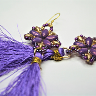 Tassel Earrings with Purple and Gold Beads